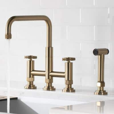 Urbix Transitional 2-Handle Bridge Kitchen Faucet with Side Sprayer in Brushed Gold
