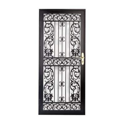 36 in. x 80 in. 114 Series Black Bird of Paradise Hinge Left Security Door with Self-Storing Glass Feature
