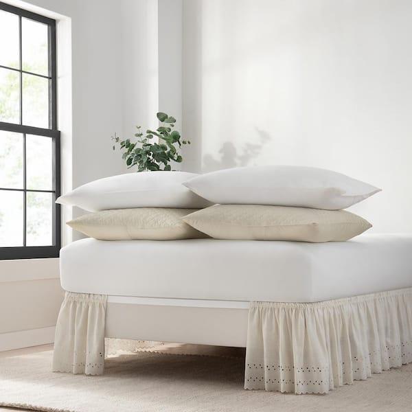 Off White Eyelet Full Bed Skirt, Wrap Around Bed Skirt Queen Size