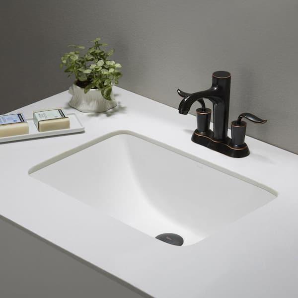 Kraus Elavo Large Rectangular Ceramic Undermount Bathroom Sink In White With Overflow Kcu 251 The Home Depot