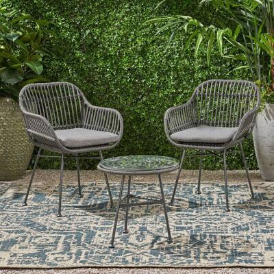 Lehrman Grey 3-Piece Faux Wicker Patio Conversation Set with Dark Grey Cushions
