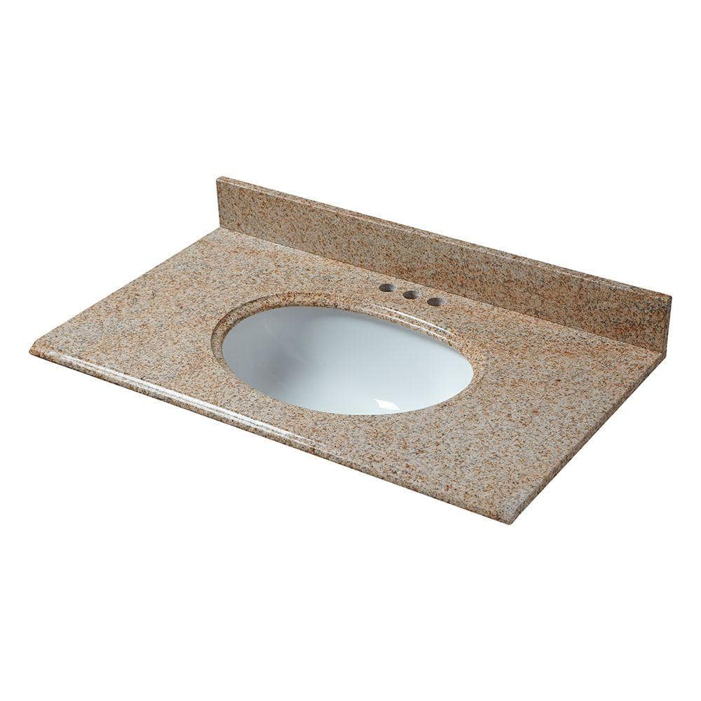 Pegasus 37 In X 22 In Granite Vanity Top In Beige With White Bowl And 4 In Faucet Spread 79682 The Home Depot