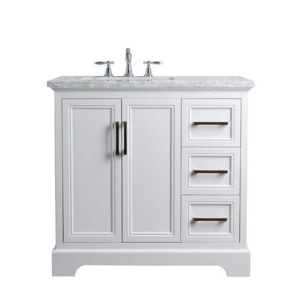 Stufurhome 36 In Ariane Single Sink Vanity In White With Marble Vanity Top In Carrara With White Basin Hd 1525w 36 Cr The Home Depot