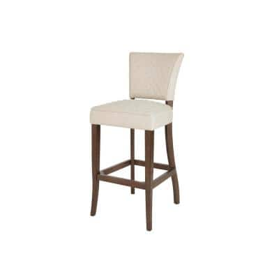 Cline Haze Oak Finish Upholstered Bar Stool with Back and Biscuit Beige Seat (19.69 in. W x 44.88 in. H)