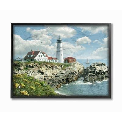 """24 in. x 30 in. """"Portland Head Lighthouse Scene Grassy Ocean Side Peninsula"""" by Alan Giana & Company Framed Wall Art"""