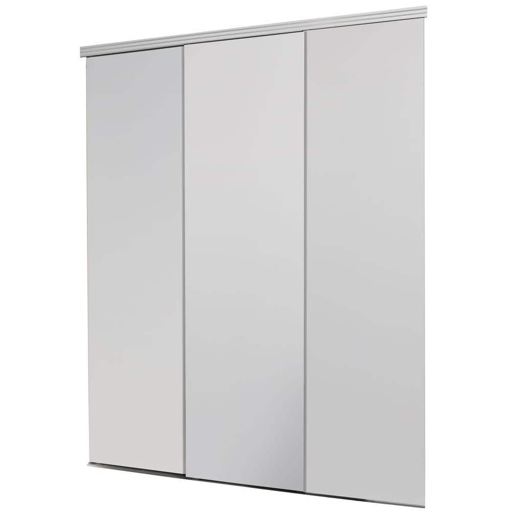 Impact Plus 84 In X 80 In Smooth Flush White Solid Core Mdf Interior Closet Sliding Door With Matching Trim Sfw343 8480m The Home Depot