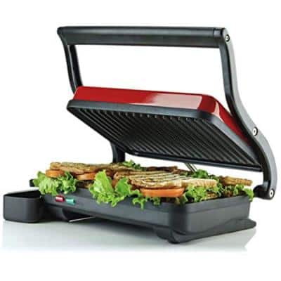 Red Electric Panini Press Grill, 2-Slice 1000-Watt Heating Plate, Drip Tray Included