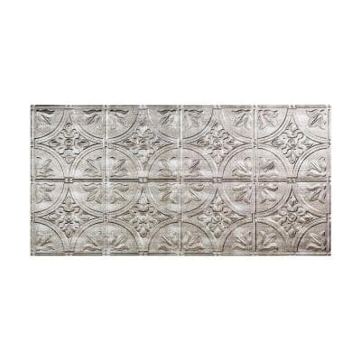 Traditional #2 2 ft. x 4 ft. Glue Up Vinyl Ceiling Tile in Crosshatch Silver (40 sq. ft.)