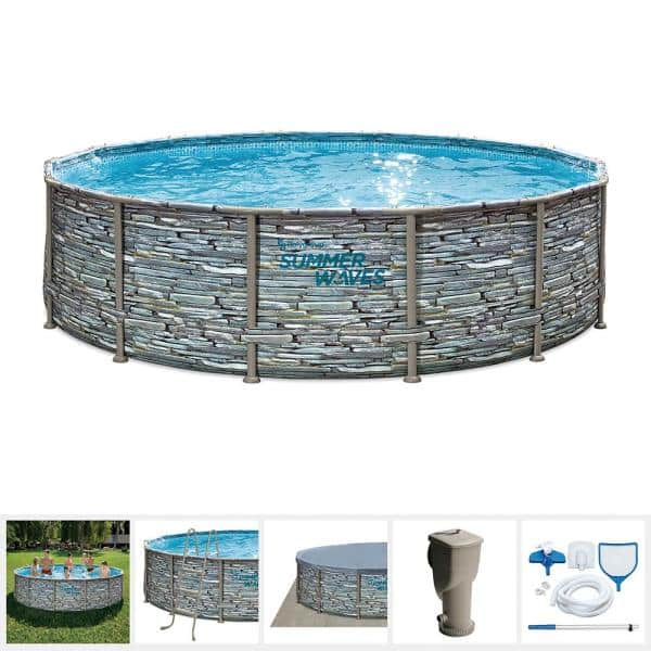 Summer Waves Elite 14 Ft Round 42 In D Above Ground Elite Metal Frame Pool With Sfx1000 Skimmer Plus Filter Pump And Accessories P4w01442b The Home Depot