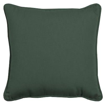 Oasis 20 in. Square Indoor/Outdoor Throw Pillow in Dark Olive Green