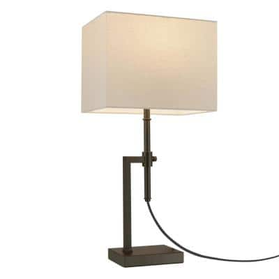 Lockhart 26 in. Dark Bronze Adjustable Height Table Lamp with Linen Shade, CEC Title 20 LED Bulb Included