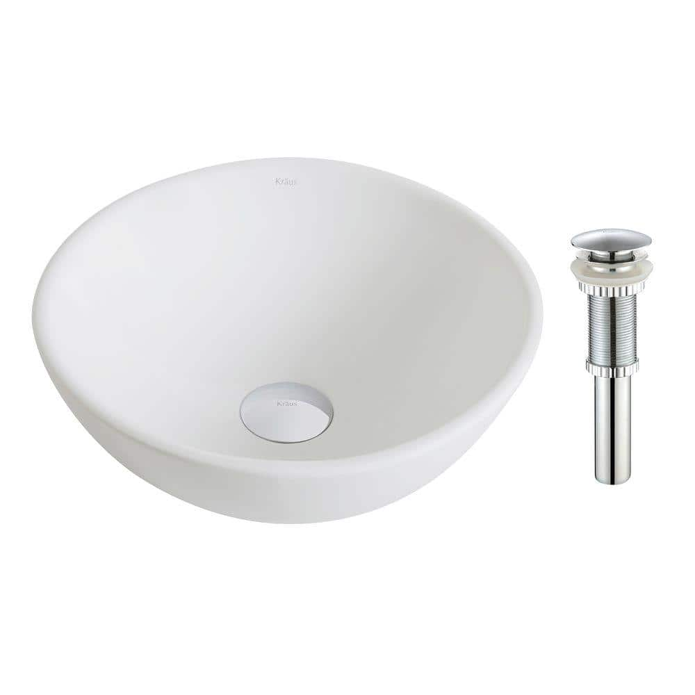 Kraus Elavo Small Round Ceramic Vessel Bathroom Sink In White With Pop Up Drain In Chrome Kcv 341 Ch The Home Depot