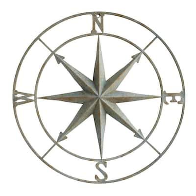 41 in. x 41 in. Distressed Aqua Iron Metal Wall Compass