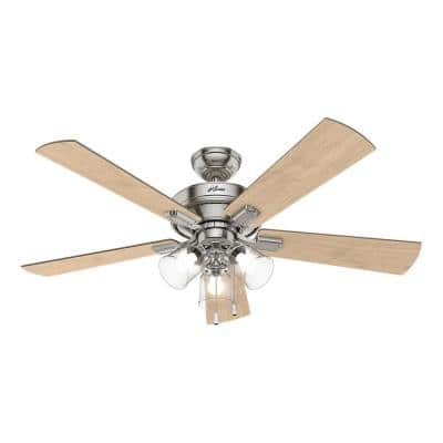 Crestfield 52 in. LED Indoor Brushed Nickel Ceiling Fan with 3-Light Kit