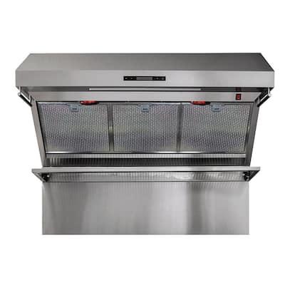 Savona 48 in. Wall Mount Range Hood With Red Light Warmers/Shelf/Back Splash Hybrid Filters in Stainless Steel