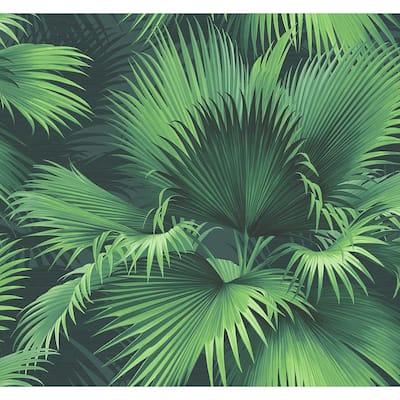 Endless Summer Dark Green Palm Dark Green Wallpaper Sample