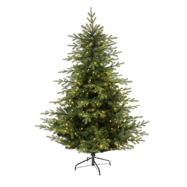 Christmas Tree Xmas Artificial W//350 White LED Lights Multi Function Green 6ft