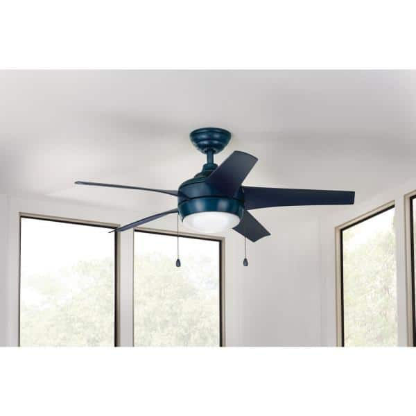 Home Decorators Collection Windward 44 In Led Blue Ceiling Fan With Light Kit And Remote Control 19985 The Home Depot