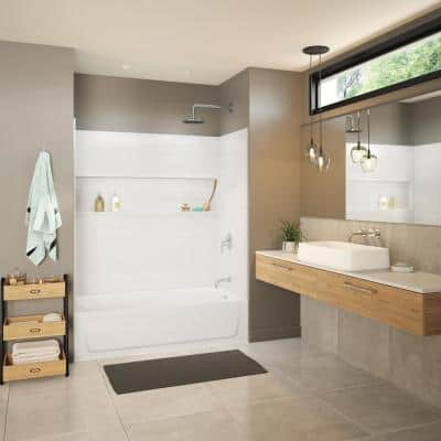 Maui NexTile 30 in. x 60 in. x 76.5 in. Standard Fit Alcove Bath and Shower Kit with Left-Hand Drain in White