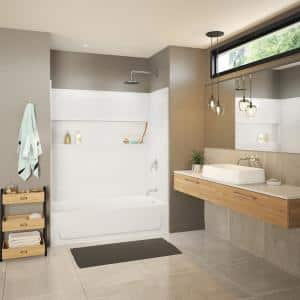 Maui NexTile 30 in. x 60 in. x 76.5 in. Standard Fit Alcove Bath and Shower Kit with Right-Hand Drain in White