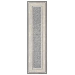 Ottohome Collection Contemporary Bordered Design Gray 2 ft. x 7 ft. Runner Rug