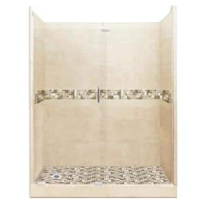 American Bath Factory Tuscany Freedom Grand Hinged 42 In X 60 In X 80 In Left Drain Alcove Shower Kit In Brown Sugar And Satin Nickel Afgh 6042bt Ld Sn The Home Depot