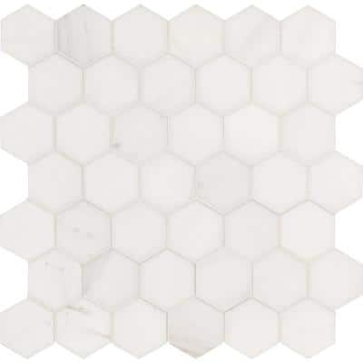 Bianco Dolomite Hexagon 12 in. x 11.75 in. x 10mm Polished Marble Mosaic Floor and Wall Tile (9.8 sq. ft./Case)