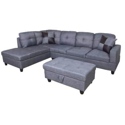 Dark Gray Microfiber 3-Seater Right-Facing Chaise Sectional Sofa with Ottoman