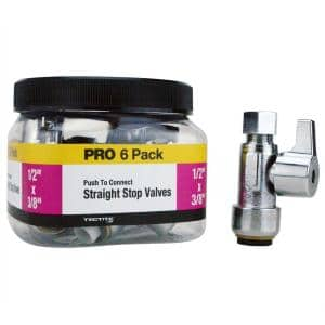 1/2 in. Push-To-Connect x 3/8 in. Compression Quarter-Turn Straight Stop Valve Pro Pack (6-Pack)