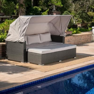 Glaros Grey 1-Piece Aluminum Outdoor Couch with Silver Cushions