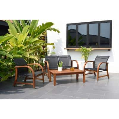 Manhattan Eucalyptus 4-Piece Patio Deep Seating Set