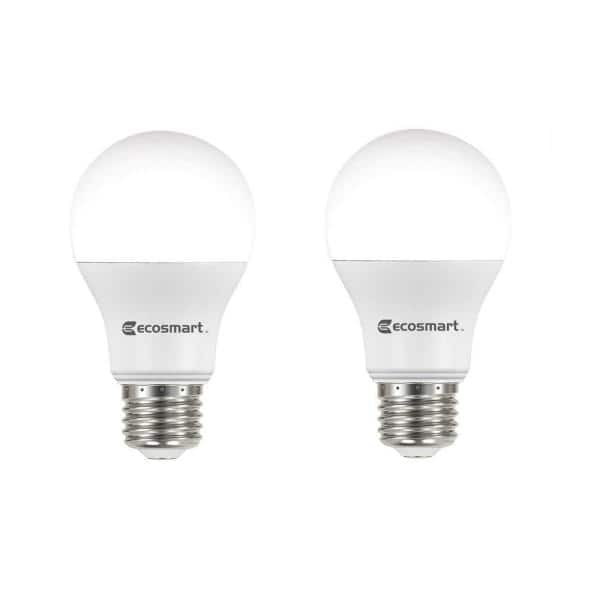 Ecosmart 60 Watt Equivalent A19 Non Dimmable Led Light Bulb Daylight 2 Pack B7a19a60wul31 The Home Depot