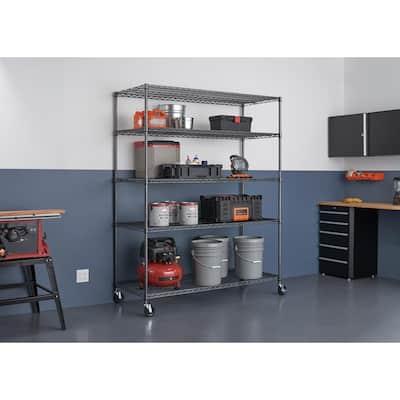 Black 5-Tier Rolling Steel Wire Garage Storage Shelving Unit (60 in. W x 72 in. H x 24 in. D)