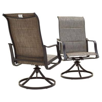 Swivel Metal Outdoor Dining Chair in Grey (2-Pack)