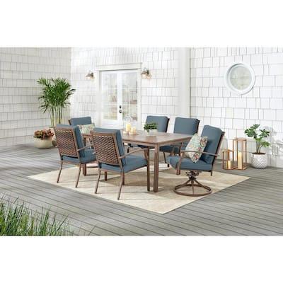 Geneva 7-Piece Brown Wicker Outdoor Patio Dining Set with Sunbrella Denim Blue Cushions