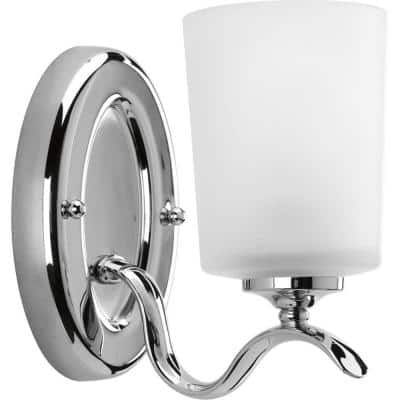 Inspire Collection 1-Light Polished Chrome Etched Glass Traditional Bath Vanity Light