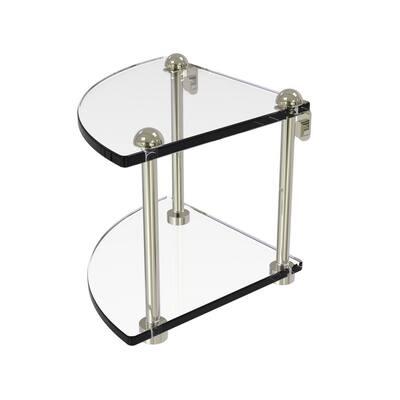8 in. 2-Tier Corner Glass Shelf in Polished Nickel