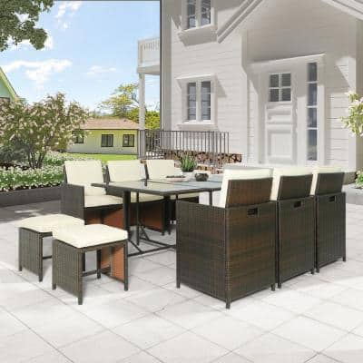11-Piece Wicker Outdoor Dining Set with Beige Cushion