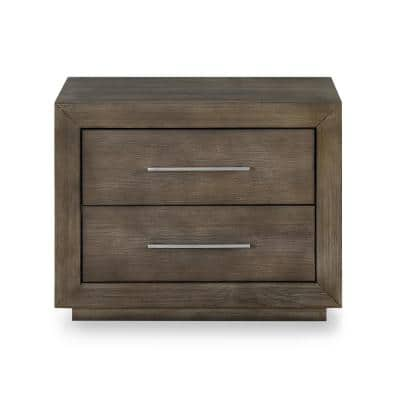 Melbourne 2-Drawer with 2 Port USB Charger Dark Pine Nightstand (22 in. H x 30 in. W x 19 in. D)