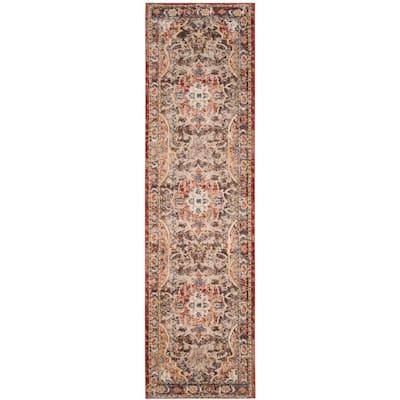Bijar Brown/Rust 2 ft. x 10 ft. Border Floral Distressed Runner Rug