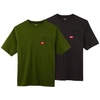 Men's Large Olive Green and Black Heavy-Duty Cotton/Polyester Short-Sleeve Pocket T-Shirt (2-Pack)
