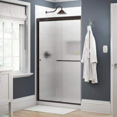 Simplicity 48 in. x 70 in. Semi-Frameless Traditional Sliding Shower Door in Bronze with Rain Glass