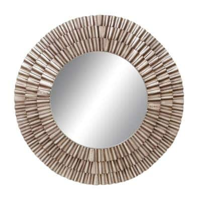 Large Round Pleated Metal Contemporary Mirror (41 in. H x 1 in. W)
