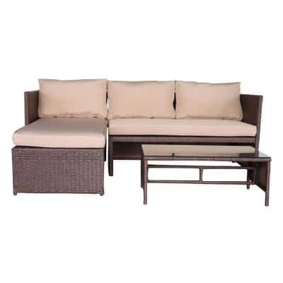 Brown Wicker Outdoor Sectional Set with Khaki Cushions