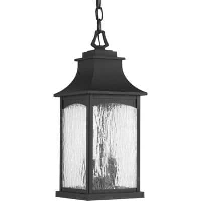 Maison Collection 2-Light Textured Black Water Seeded Glass Farmhouse Outdoor Hanging Lantern Light