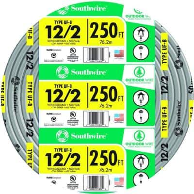 250 ft. 12/2 Gray Solid CU UF-B W/G Wire