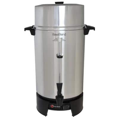 100-Cup Silver Aluminum with Quick Brewing NSF Certified Commercial Coffee Urn Features Automatic Temperature Control