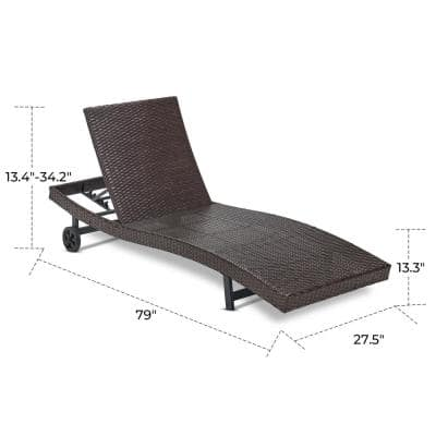 Brown PE Rattan Adjustable Chaise Lounge Sets with Wheels Back