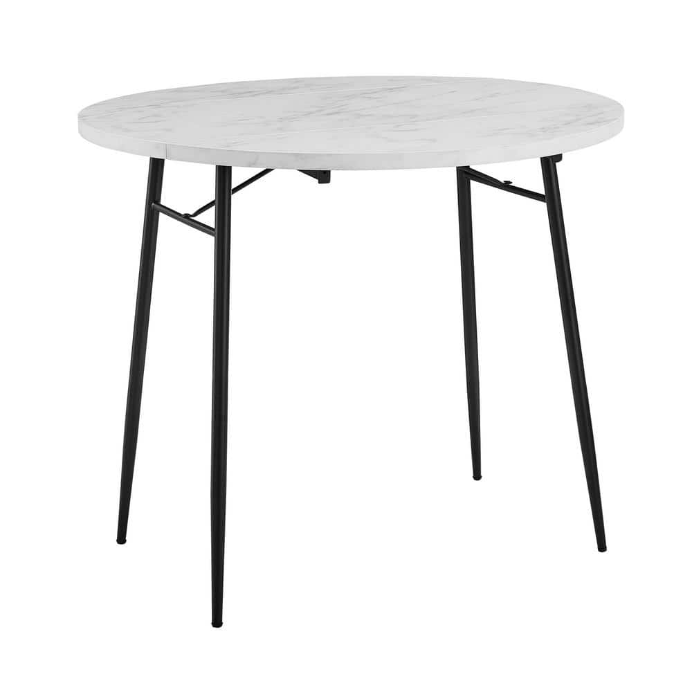 Welwick Designs 36 In White Faux Marble Drop Leaf Dining Table Hd8478 The Home Depot