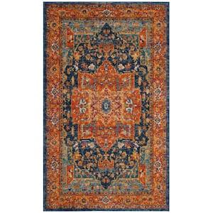 Evoke Blue/Orange 3 ft. x 5 ft. Area Rug